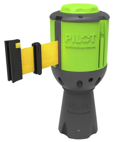 Barrier - Pilot Retractable Tape Barrier c/w Cone Mount Adaptor & Receiver Clip 10.0M - Yellow