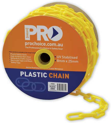 Chain - Plastic ProChoice Safety Hazard Barrier 8mm Links - Yellow