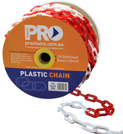 Chain - Plastic ProChoice Safety Hazard Barrier 8mm Links - Red/White