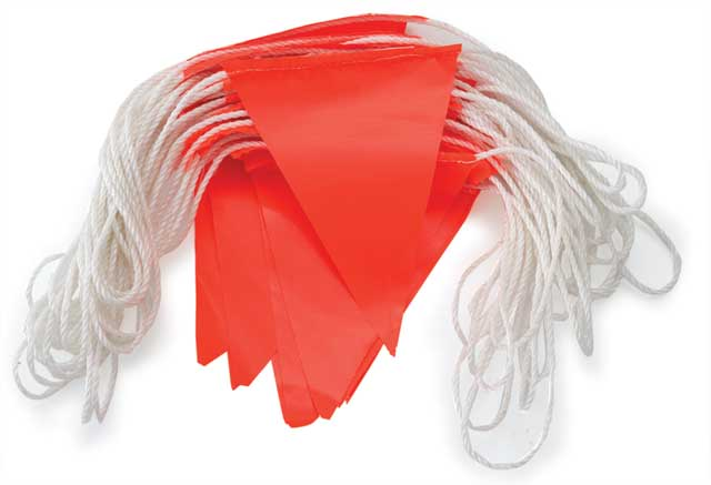 Bunting - PVC HI VIS Triangle 30M Rope (45Flags/30M) - Orange
