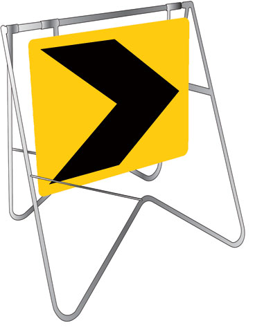 Sign & Stand - Traffic Swing Metal CL1 Reflective USS 600mm x 600mm - Chevron