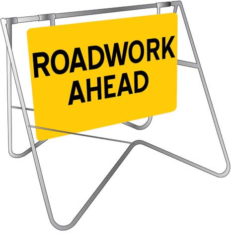 Sign & Stand - Traffic Swing Metal CL1 Reflective USS 900mm x 600mm - Roadwork Ahead