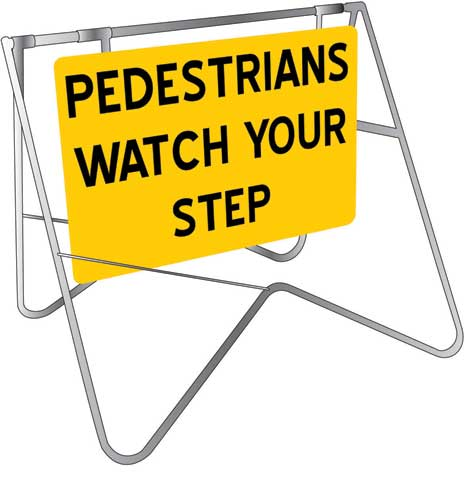 Swing Sign & Stand - Metal CL1 Reflective USS 900mm x 600mm - Pedestrians Watch Your Step