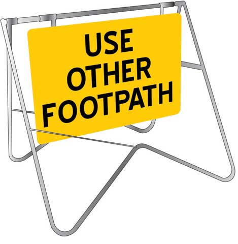 Swing Sign & Stand - Metal CL1 Reflective USS 900mm x 600mm - Use Other Footpath