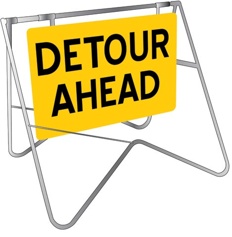 Sign & Stand - Traffic Swing Metal CL1 Reflective USS 900mm x 600mm - Detour Ahead