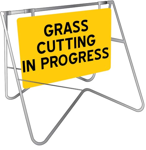 Sign & Stand - Traffic Swing Metal CL1 Reflective USS 900mm x 600mm - Grass Cutting In Progress