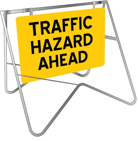Sign & Stand - Traffic Swing Metal CL1 Reflective USS 900mm x 600mm - Traffic Hazard Ahead