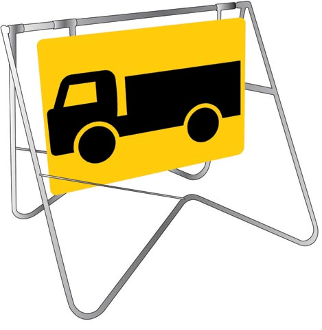 Sign & Stand - Traffic Swing Metal CL1 Reflective USS 900mm x 600mm - Truck Pictogram