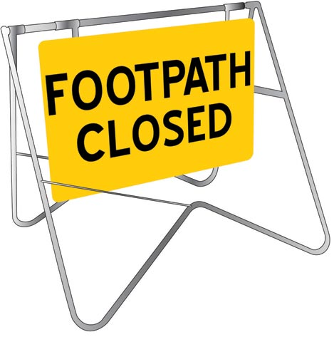Sign & Stand - Traffic Swing Metal CL1 Reflective USS 900mm x 600mm - Footpath Closed