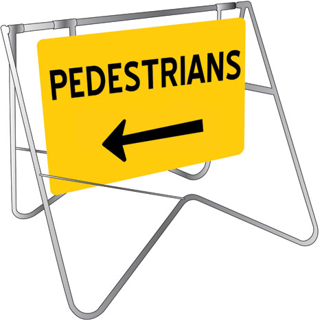 Swing Sign & Stand - Metal CL1 Reflective USS 900mm x 600mm - Pedestrians (Left Arrow)