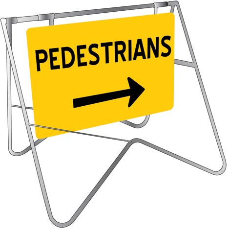 Swing Sign & Stand - Metal CL1 Reflective USS 900mm x 600mm - Pedestrians (Right Arrow)