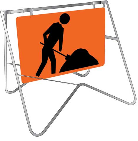 Swing Sign & Stand - Metal CL1A Reflective USS 900mm x 600mm - Symbolic Worker