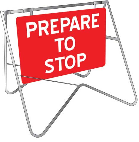 Sign & Stand - Traffic Swing Metal CL1 Reflective USS 900mm x 600mm - Prepare to Stop