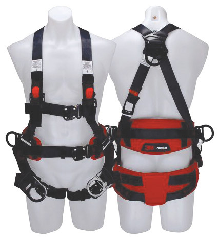 Harness - Tower Workers 3M Protecta P200 1161695 Auto Reset Lanyard c/w Rear & 2 Work D Rings and Snap Hook - XL