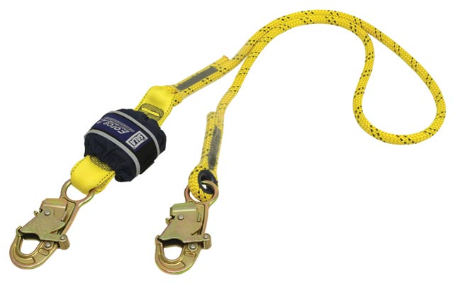 Lanyard - Single Tail 3M DBI-Sala Force2 Z10200909R Shock Absorbing Kermantle Rope c/w 9502116 Snap Hooks Both Ends 2.0M
