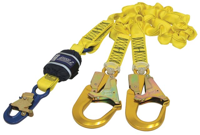 Lanyard - Double Tail 3M DBI-Sala Force2 Z12202519E Shock Absorbing Elasticated Webbing c/w 9505254 Snap Hook & 9502058 Scaffold Hook - 2.0M