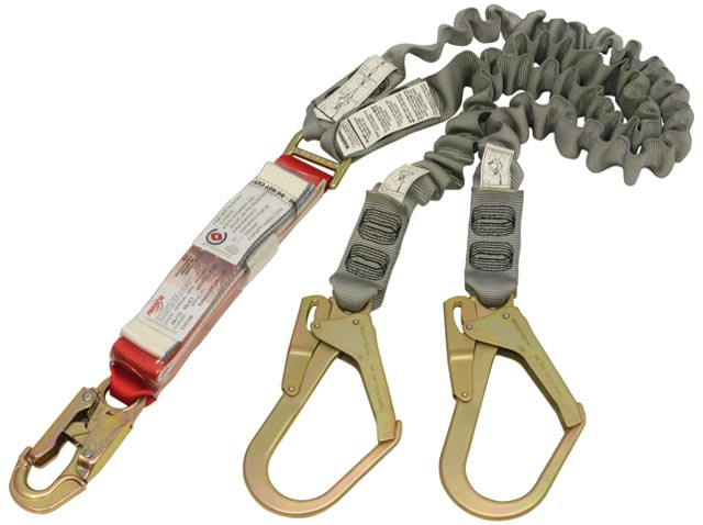 Lanyard - Double Tail 3M Protecta Pro A529EY/5AU Shock Absorbing Elasticised Webbing c/w Snap Hook & 2 Scaff Hooks - 2.0M