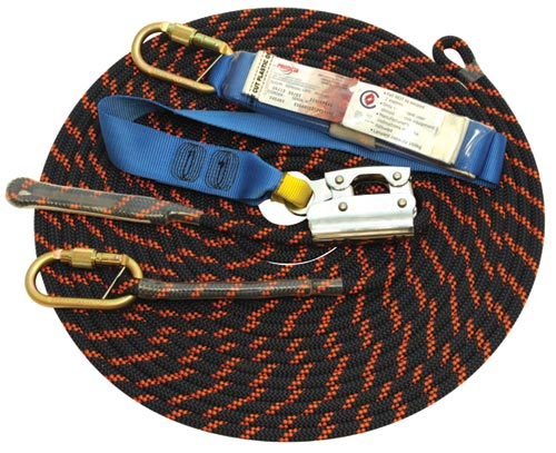 Rope Grab Lifeline System - Manual 3M Protecta AC415MAU c/w Non-removable Rope Adjuster/11mm Kernmantle Rope/Karabiner/Backsplice & Shock Absorber (Horizontal Work only) - 15.0M