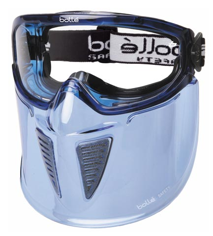 Goggle Faceguard - Clear Bolle Blast Splash/MI ALS Lens Indirect Vents Top/Bottom Foam Bound
