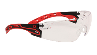 Spectacle - Clear 3M Helios S9151 Wrap Around HP MI C/AF Lens - Black/Red Frame