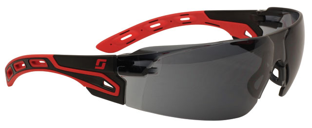 Spectacle - Smoke 3M Helios S9152 Wrap Around MI HC/AF Lens - Black/Red Frame