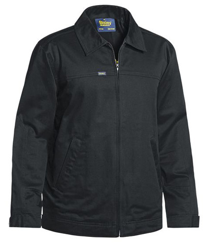 Jacket - Cotton Drill Bisley BJ6916 Full Zip 240gsm Liquid Repellent Finish Cotton Lined Black - 6XL