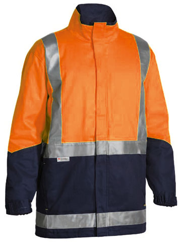 Jacket - Cotton Drill Bisley BJ6970T 3-In-1 c/w Vest Cotton Quilt Lined 2 Tone HI VIS D/N c/w Tape Orange/Navy - 6XL