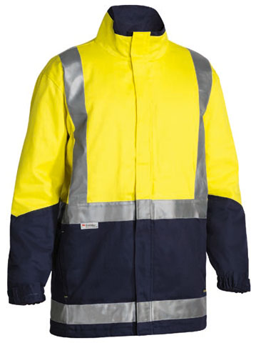 Jacket - Cotton Drill Bisley BJ6970T 3-In-1 c/w Vest Cotton Quilt Lined 2 Tone HI VIS D/N c/w Tape Yellow/Navy - 6XL