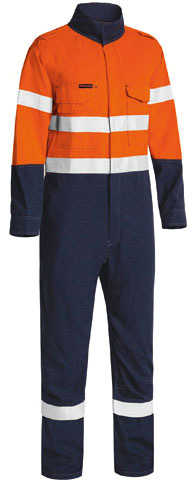 Overall - Flame Resistant Bisley Tecasafe Plus 700 Coverall 237gsm Vented 2 Tone HI VIS D/N c/w Tape Orange/Navy - 132S