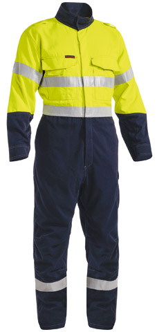 Overall - Flame Resistant Bisley Tecasafe Plus 700 Coverall 237gsm Vented 2 Tone HI VIS D/N c/w Tape Yellow/Navy - 132S
