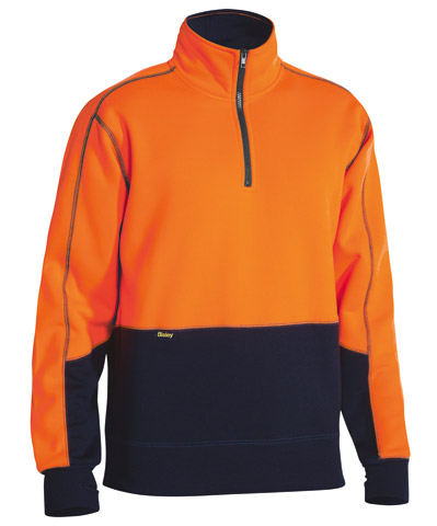Pullover - Polyester Fleece Bisley BK6989 1/4 Zip 2 Tone HI VIS  D Orange/Navy - 6XL