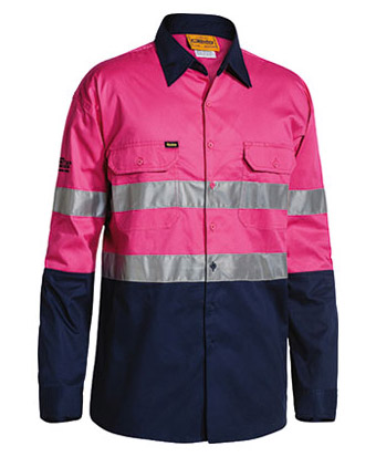 Shirt - Bisley Cotton Drill Cool Lightweight 155gsm Long Sleeve 2Tone HIVIS D/N c/w Tape