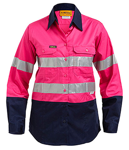 Shirt - Bisley Womens BL6896 Cotton Drill 155gsm Lightweight Long Sleeve 2 Tone HI VIS N c/w Tape & NBCF Logo - 24
