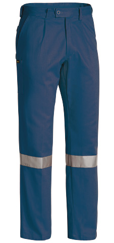 Trouser - Bisley Cotton Drill 310gsm Pleat Front c/w Tape Navy - 132S