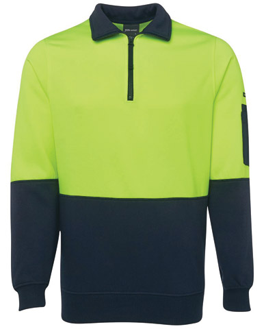 Windcheater - 1/2 Zip JBs Poly/Cotton Fleecy Sweat  2 Tone HI VIS D Long Sleeve Lime/Navy - 5XL