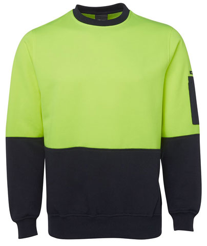 Windcheater - Crew Neck JBs Poly/Cotton Fleecy Sweat  2 Tone HI VIS D Long Sleeve Lime/Navy - 5XL