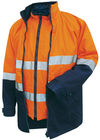 Jacket - Cotton Drill Prime Mover Hume MJ777 4-In-1 Combo Zip Out Reversible Vest Cotton Lined 2 Tone HI VIS D/N c/w Tape Orange/Navy - 5XL