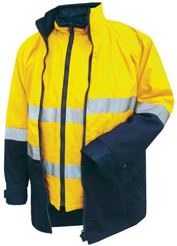 Jacket - Cotton Drill Prime Mover Hume MJ777 4-In-1 Combo Zip Out Reversible Vest Cotton Lined 2 Tone HI VIS D/N c/w Tape Yellow/Navy - 5XL
