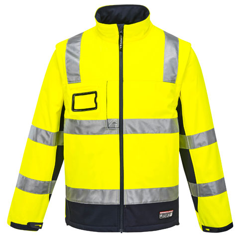 Jacket - Softshell Huski K8074 Chassis 2-in-1 Full Zip Water Resistant/Breathable HI VIS D/N Yellow/Navy - 5XL