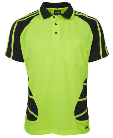Shirt - Polo Spider JBs Polyester HI VIS D Short Sleeve Lime/Black - 5XL