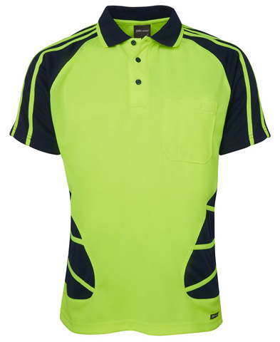 Shirt - Polo Spider JBs Polyester HI VIS D Short Sleeve Lime/Navy - 5XL