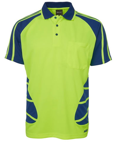 Shirt - Polo Spider JBs Polyester HI VIS D Short Sleeve Lime/Royal - 5XL