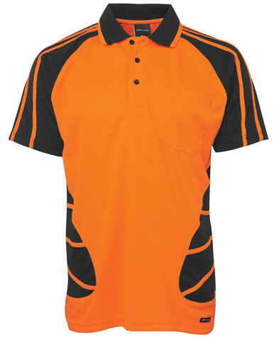 Shirt - Polo Spider JBs Polyester HI VIS D Short Sleeve Orange/Navy - 5XL