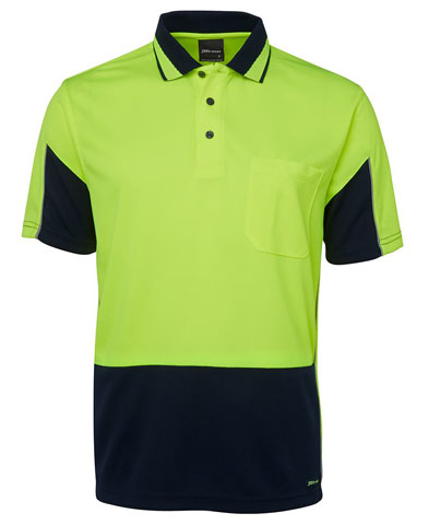 Shirt - Polo Arm Panel JBs Micro Mesh HI VIS D Short Sleeve Lime/Navy - 5XL