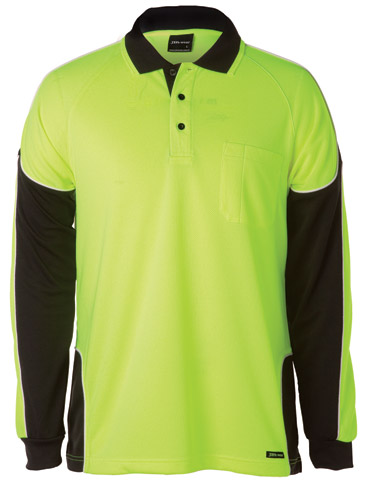 Shirt - Polo Arm Panel JBs Micro Mesh HI VIS D L/Sleeve Lime/Navy - 5XL