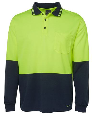 Shirt - Polo Traditional JBs Micro Mesh HI VIS D Long Sleeve Lime/Navy - 5XL