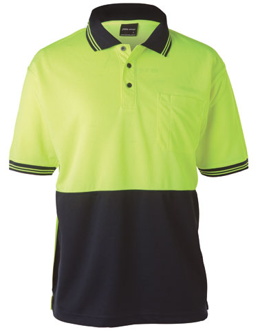 Shirt - Polo Traditional JBs Micro Mesh HI VIS D Short Sleeve Lime/Navy - 5XL