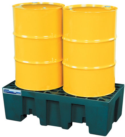 Spill Control Pallet - 2 Drum Justrite Low Profile In-Line Pallet