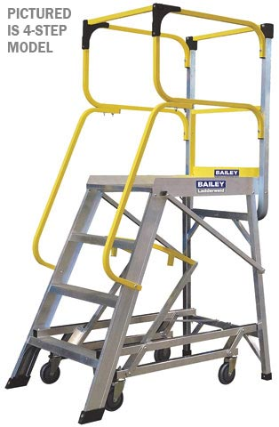 Platform - Access Bailey Temporary Work Platform c/w Wheels 10 Step 2.76M Platform 4.8M Reach