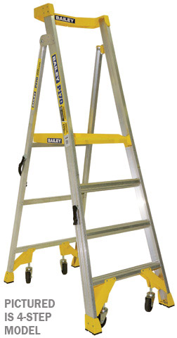 Ladder - Platform Aluminium Bailey P170 Job Station Stepladder 170kg c/w Castors - 3 Step 0.9M Platform